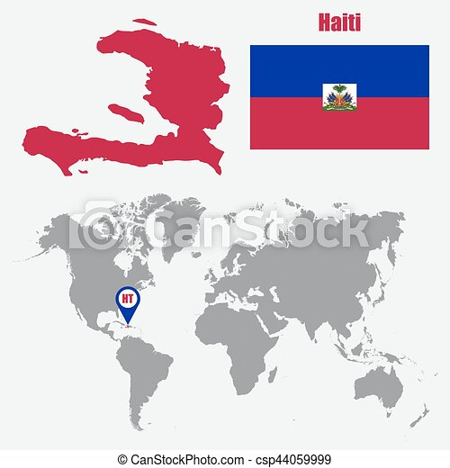 Haiti map on a world map with flag and map pointer. vector illustration.