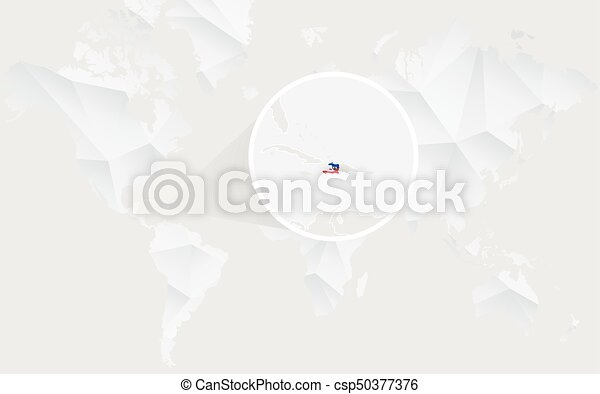 Haiti map with flag in contour on white polygonal world map vector haiti map with flag in contour on white polygonal world map vector illustration gumiabroncs Images