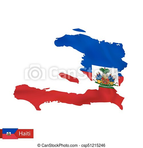 Haiti map with waving flag of country vector illustration gumiabroncs Images