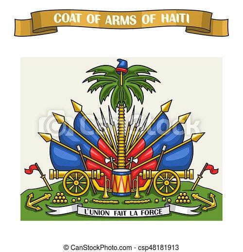 Vector Illustration On Theme Haitian Coat Of Arms Heraldic Shield
