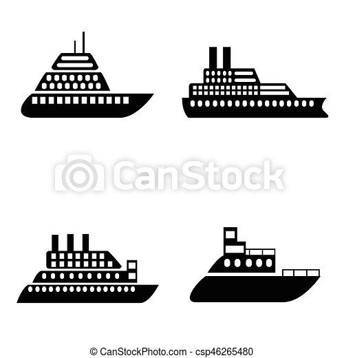 hajó, állhatatos, csónakázik, ikon - csp46265480