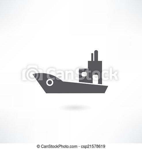 hajó, állhatatos, csónakázik, ikon - csp21578619