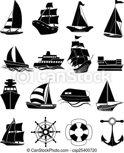 hajó, állhatatos, csónakázik, ikonok - csp25400720