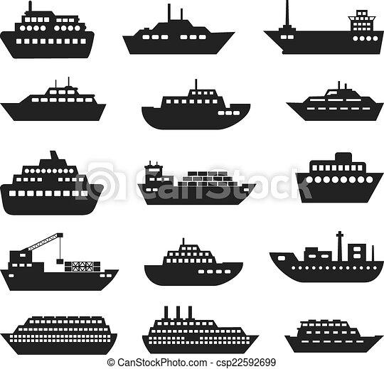 hajó, ikon, set., csónakázik - csp22592699