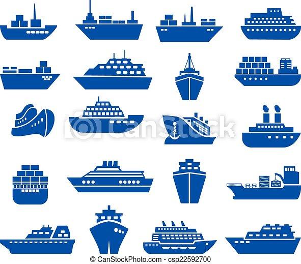hajó, ikon, set., csónakázik - csp22592700