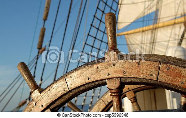 hajó, kormánykerék - csp5396348