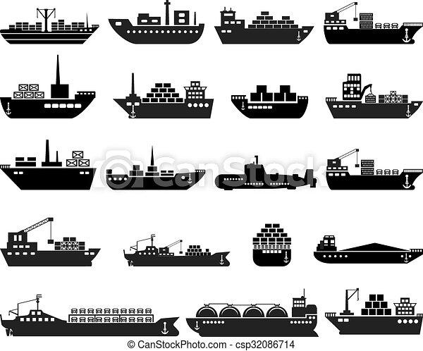 hajó, set., csónakázik, ikon - csp32086714