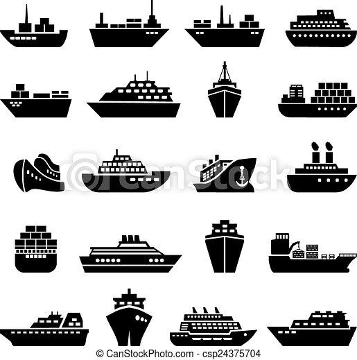 hajó, set., csónakázik, ikon - csp24375704