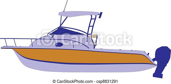 hajó, vektor, jacht, csónakázik - csp8831291