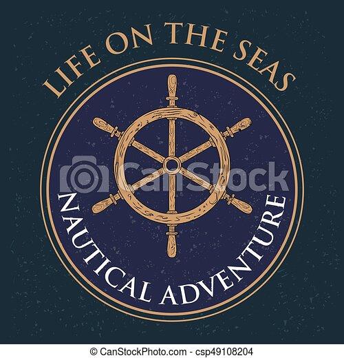 hajóutas, gördít, szüret, címke, tervezés, retro, tengeri, vezetés, kormányzó - csp49108204