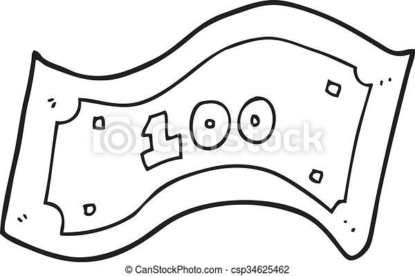 halabarda, dolar, biały, czarnoskóry, 100, rysunek - csp34625462