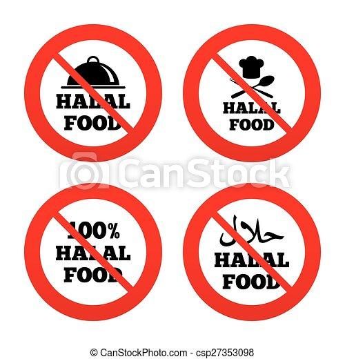 Halal Food Icons Natural Meal Symbol No Ban Or Stop Signs Halal