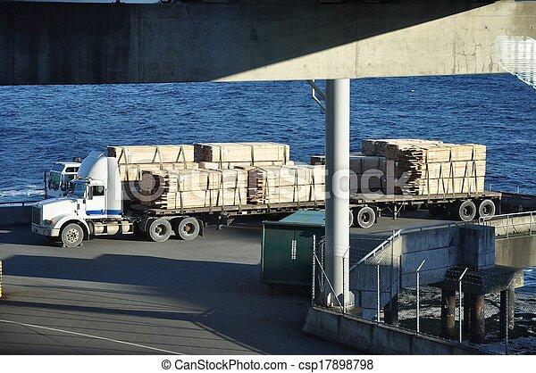 halb, brett, lastwagen, warten, fähre - csp17898798
