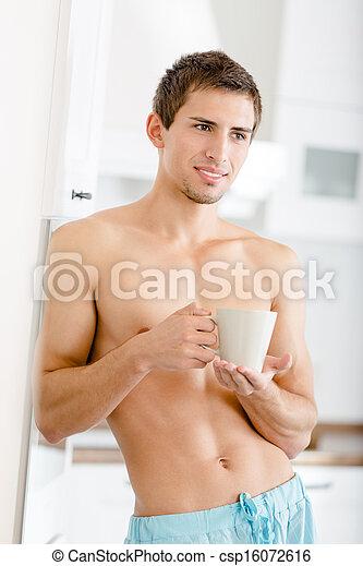 halb-nackt, becher, tee, hübscher mann, kueche