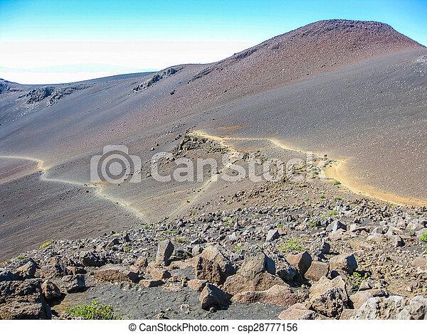 Trail In Haleakala Volcano Within The Haleakala National Park At Sunrise Maui Hawaii Usa