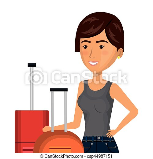 half body cartoon short hair woman with pair travel