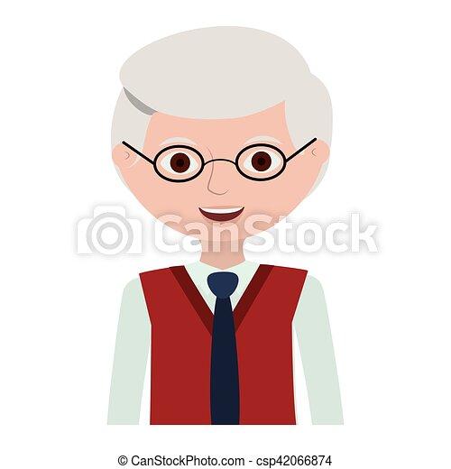 half body elderly man with glasses - csp42066874