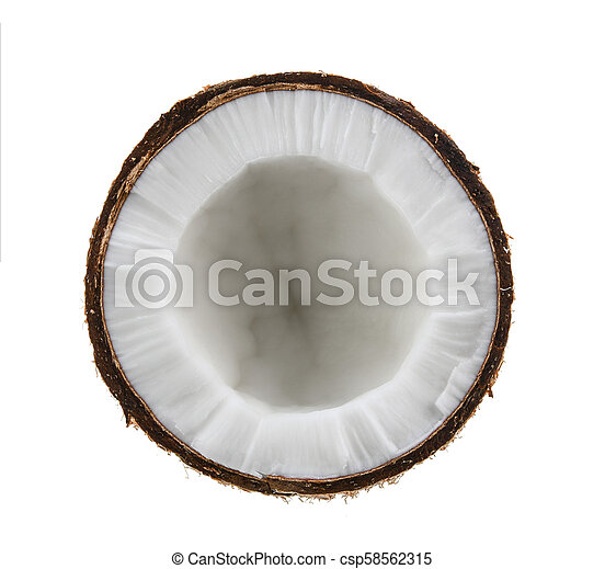 Half coconut isolated on white background - csp58562315