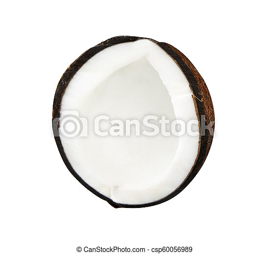 Half coconut isolated on white - csp60056989