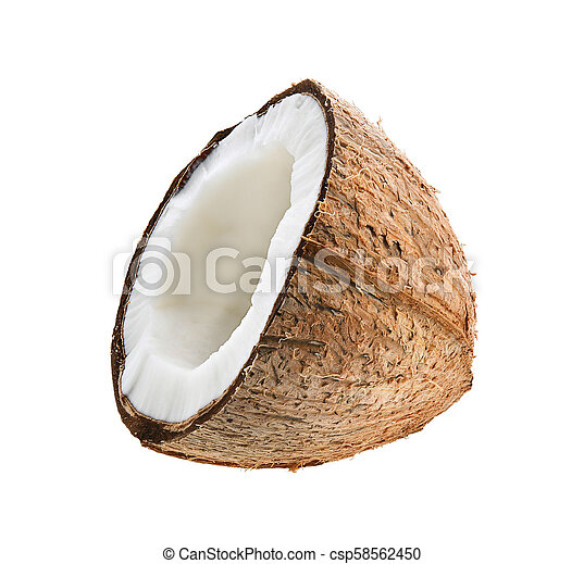 Half coconut isolated on white background - csp58562450