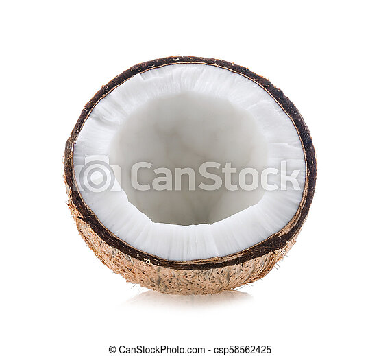 Half coconut isolated on white background - csp58562425