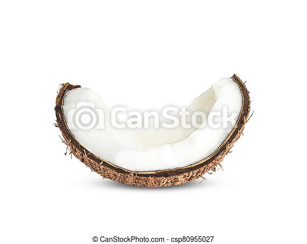 Half Coconut isolated on white background - csp80955027
