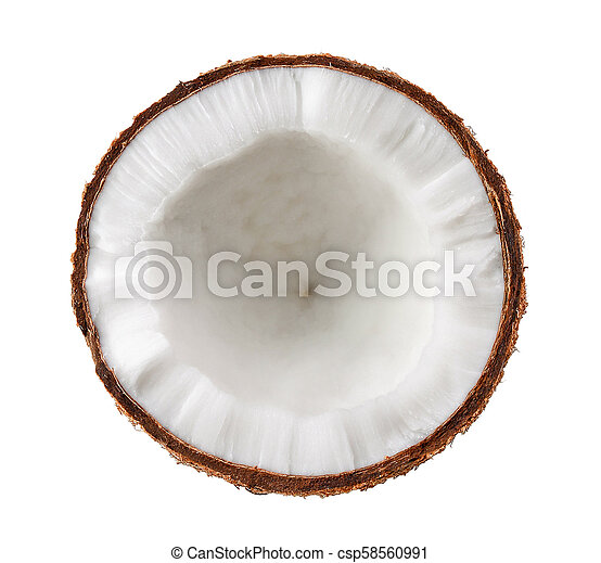 Half coconut isolated on white background - csp58560991