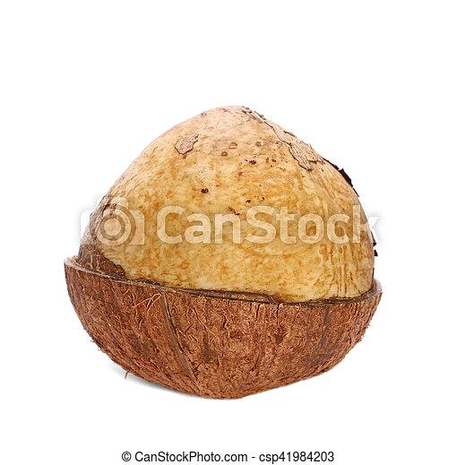 Half coconut isolated on white - csp41984203
