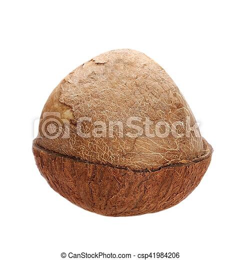 Half coconut isolated on white - csp41984206