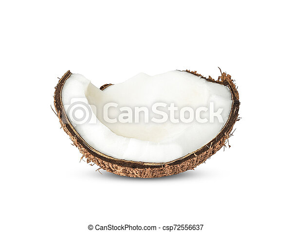 Half Coconut isolated on white background - csp72556637