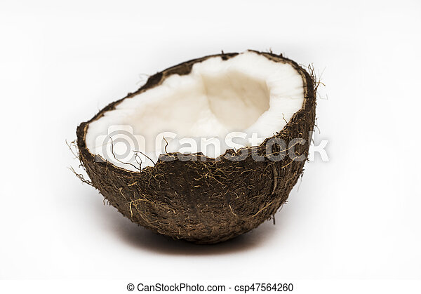 Half coconut top view isolated on white - csp47564260