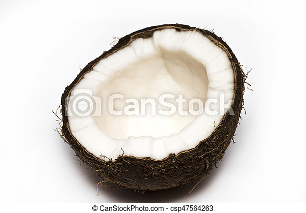Half coconut top view isolated on white - csp47564263
