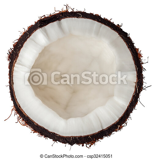 half coconut top view isolated on white - csp32415051