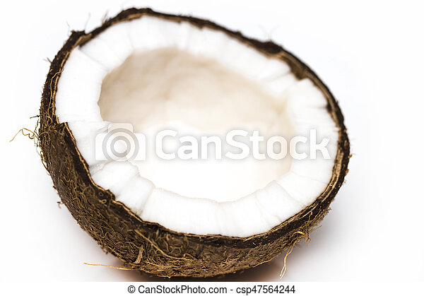Half coconut top view isolated on white - csp47564244