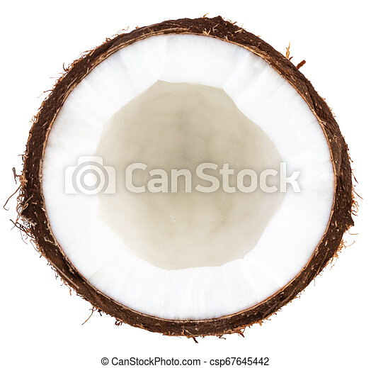 Half coconut top view isolated on white - csp67645442
