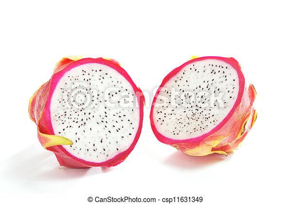 Half Dragon Fruit on white background - csp11631349