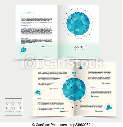 Half Fold Brochure Template With Geometric Blue Crystal Clipart
