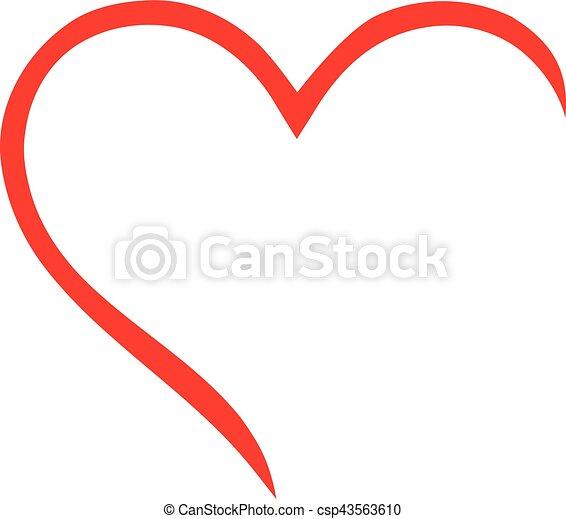 Half heart outline - csp43563610