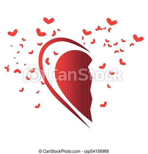 Half Heart Shape Valentine Day Vector Illustration Design
