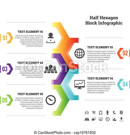 Half Hexagon Block Infographic - csp19761932