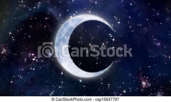 Half Moon In The Space Large Size Stock Illustration