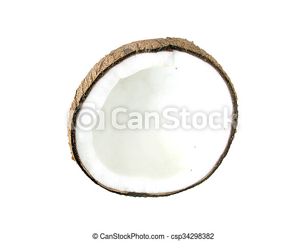 Half of coconut closeup on a white background - csp34298382