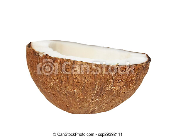 Half of coconut isolated on white - csp29392111