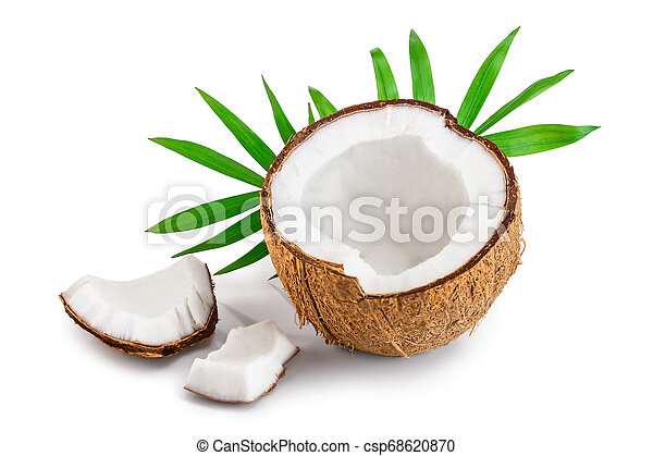 half of coconut with leaves isolated on white background - csp68620870