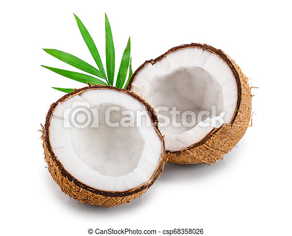 half of coconut with leaves isolated on white background - csp68358026