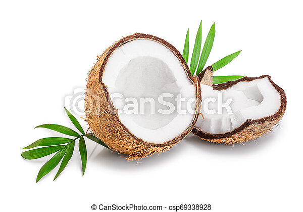 half of coconut with leaves isolated on white background - csp69338928