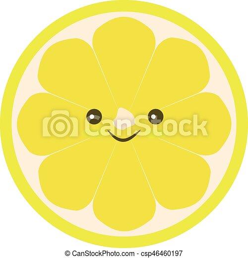 Half of lemon icon. Isolated object. Lemon logo. - csp46460197