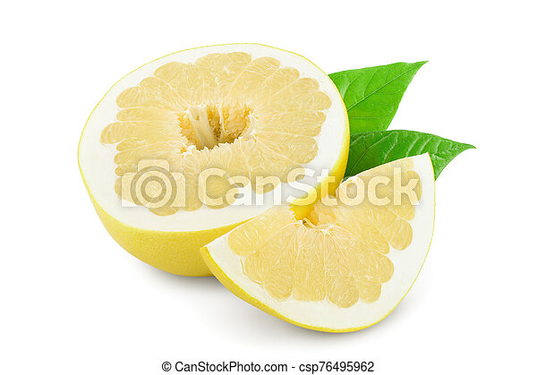 half of pomelo with leaf isolated on white background - csp76495962