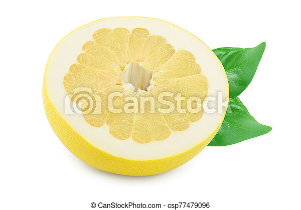 half of pomelo with leaf isolated on white background - csp77479096