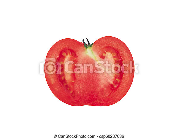 Half of the tomato. Isolated on white background - csp60287636